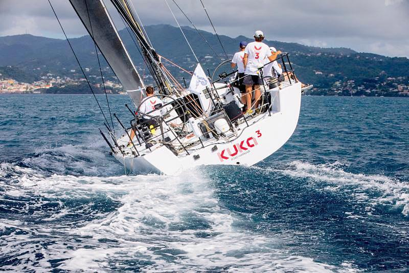 Franco Niggeler's Cookson 50 Kuka3 heads into C&N Port Louis Marina after crossing the finish line in Grenada - 2018 RORC Transatlantic Race  - photo © RORC / Arthur Daniel