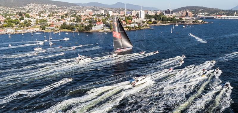 Wild Oats XI arrives in Hobart to claim a record ninth 2018 Rolex Sydney Hobart Yacht Race line honours success - photo © Rolex / Studio Borlenghi