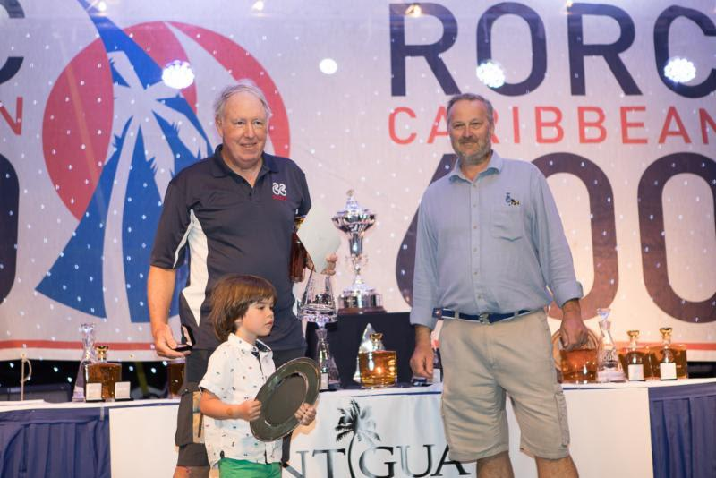 RORC Commodore, Steven Anderson presents Gibb Kane's Swan 66 Bounty (USA), skippered by Peter Todd with prizes for winning IRC One - 2019 RORC Caribbean 600 - photo © Arthur Daniel