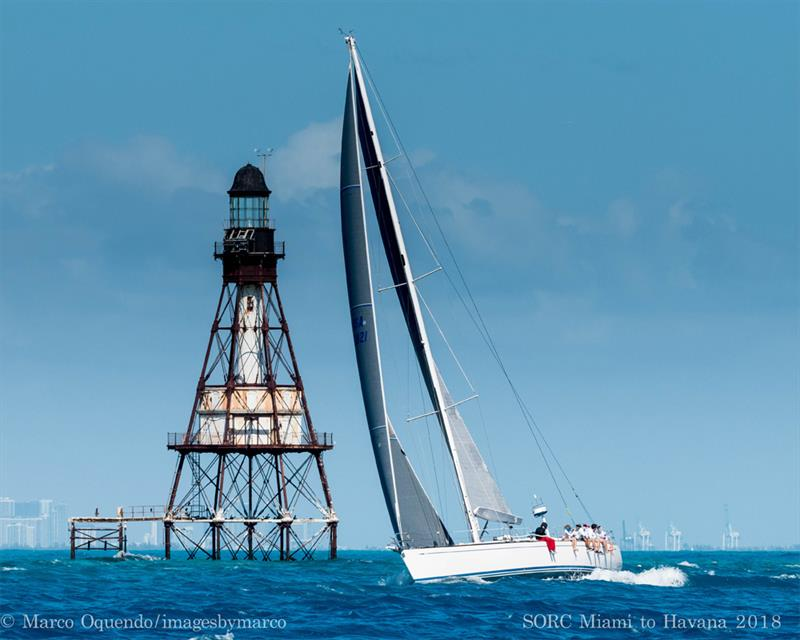 Todd White's White Rhino passes Fowey Rocks Lighthouse - photo © Image courtesy of the Miami to Havana Race