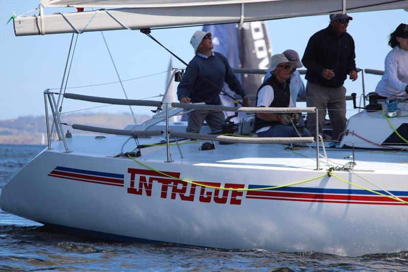 2019 Combined Clubs Summer Pennant Race - Doyen of the River Derwent yachting, Don Calvert, at the helm of Intrigue photo copyright Peter Campbell taken at  and featuring the IRC class