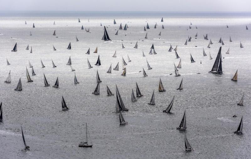 The 48th Rolex Fastnet Race starts on Saturday 3 August 2019. The immense fleet in the world's largest offshore yacht race is an impressive sight as they head into the English Channel - photo © Rolex / Kurt Arrigo
