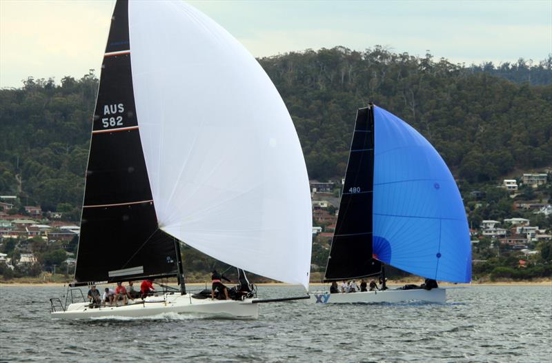 Assagai and X&Y duelling downwind on the Derwent - 2019 Combine Clubs Inshore Series - photo © Peter Watson