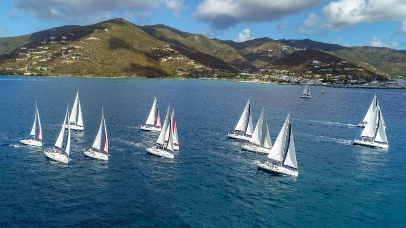 The Bareboat fleet heads off after the start of the Scrub Island Invitational Race from Nanny Cay - BVI Spring Regatta & Sailing Festival 2019 - photo © Alastair Abrehart