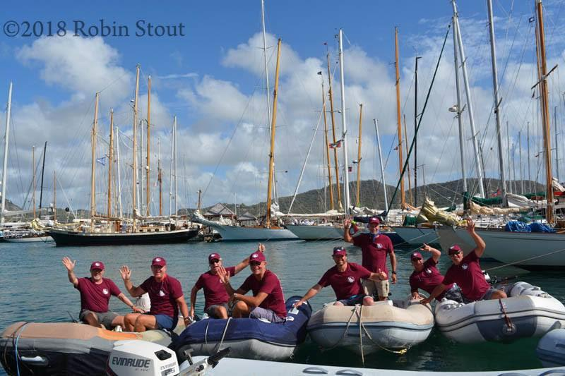 Large contingent of volunteers serving as dinghy wranglers - Antigua Classics Yacht Regatta 2019 - photo © Robin Stout