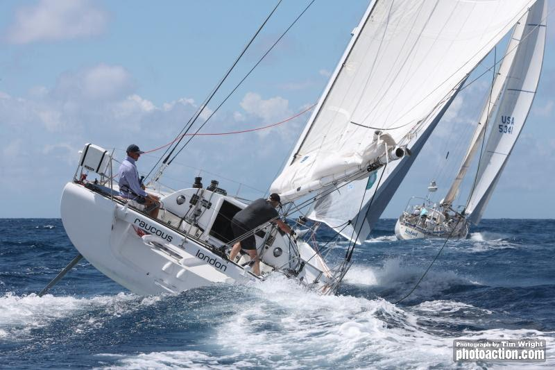 Henry Rourke and Freddie Mills racing in the new Double-Handed class in the Open 40 Raucous - Antigua Sailing Week - photo © Tim Wright / www.photoaction.com