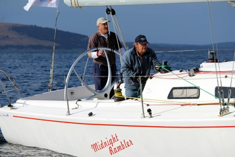 Sydney Hobart race veteran Ed Psaltis and Graham McKibben aboard Division 3 (non-spinnaker, two-handed) on the Derwent today. - photo © Peter Watson