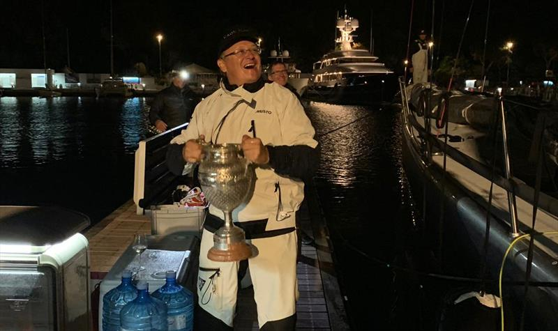An elated Alex Schaerer, owner of Caol Ila R, winner of consecutive line honours victories in the Regata dei Tre Golfi. - photo © Andrea Sorrenti/Valerio Mereghini