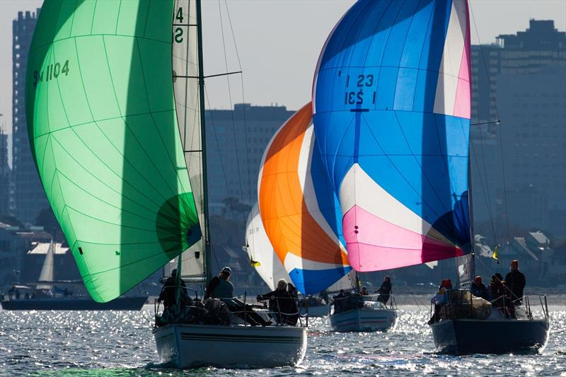 Downwind with Melbourne city backdrop - Australian Women's Keelboat Regatta - photo © Bruno Cocozza / AWKR