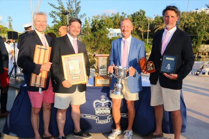 Chip Bradish and his crew from Selkie Max Mulhern (Navigator), George Dyroff (Watch Captain) and Peter Sidewater (Crew) show off their 2017 winnings. Selkie was the smallest boat in the race and was sailed using only celestial navigation winning the Beve - photo © Spectrum Photo/Fran Grenon