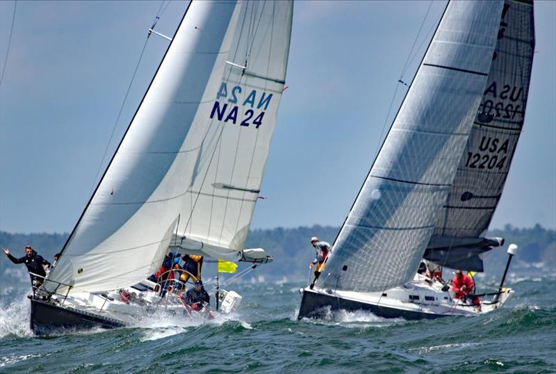 Sunday's estimated leader in Class B was NA24 Gallant, a Pearson Composite Navy 44 skippered by Christian Hoffman. The US Naval Academy boat looked very smart coming off the line in Marion Friday. She's always highly competitive in offshore conditions. - photo © Fran Grenon, spectrum Photo