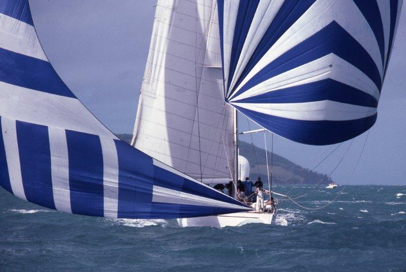 Maxi Ragamuffin - originally Bumblebee IV - sails downwind under spinnaker and blooper at the inaugural Hamilton Island Race Week in 1984. The yacht will celebrate its 40th birthday at Race Week this year - photo © Sandy Peacock
