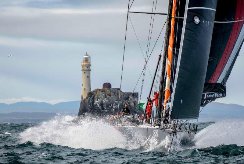 SHK Scallywag, Seng Huang Lee's Maxi Dovell rounding the Rock in the early hours of the morning - 2019 Rolex Fastnet Race - photo © Rolex / Kurt Arrigo