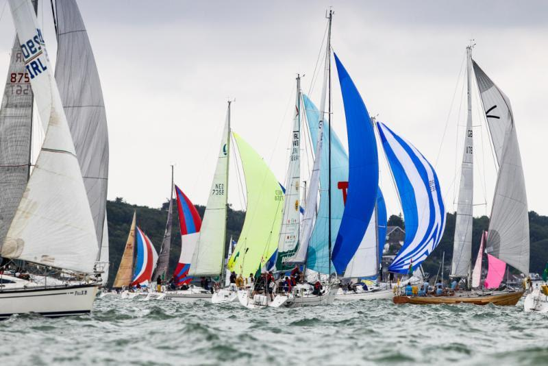 The colourful start of the largest class IRC Four - 2019 Rolex Fastnet Race - photo © Paul Wyeth