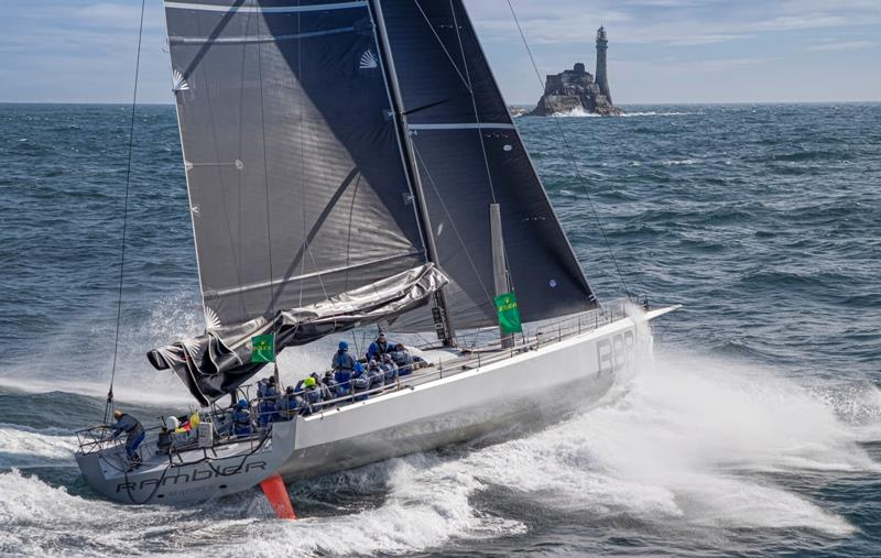 George David's 88-foot Rambler reached the Fastnet Rock in a new record time of 1d 2h 45m 47s, coincidentally 88 minutes faster than the previous time - 2019 Rolex Fastnet Race photo copyright Carlo Borlenghi / Rolex taken at Royal Ocean Racing Club and featuring the IRC class