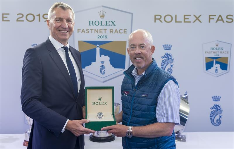Prizegiving Wizard, Sail no: USA70000, Class: IRC Zero, Owner: David and Peter Askew, Sailed by: Charlie Enright - Rolex Fastnet Race 2019 photo copyright Carlo Borlenghi taken at Royal Ocean Racing Club and featuring the IRC class