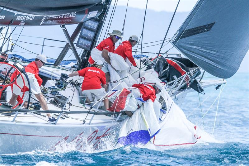 Wild Oats X crew clean up after a quick sail change as a wind shift hits - Day 2 - Hamilton Island Race Week, August 19, - photo © Richard Gladwell