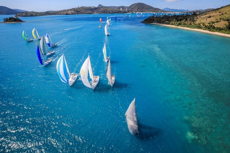 Fleet rounding Dent Island on day 2 of Hamilton Island Race Week - photo © Salty Dingo