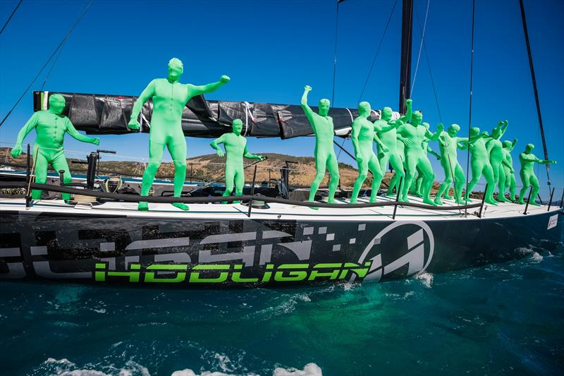 The crew of Hooligan made a big impression in the Presentation Parade before the serious racing got underway for the day - Hamilton Island Race Week 2019 - photo © Craig Greenhill / www.saltydingo.com.au
