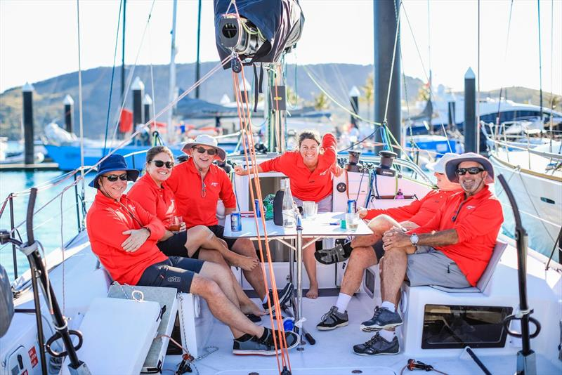An on-board debrief/celebration/drowning of sorrows - post race for one of the rcaing/cruising divisions - Hamilton Island race Week 2019 - photo © Craig Greenhill / www.saltydingo.com.au