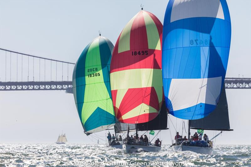 Express 37s found enough wind to fill their chutes - 2019 Rolex Big Boat Series - photo © Rolex / Sharon Green
