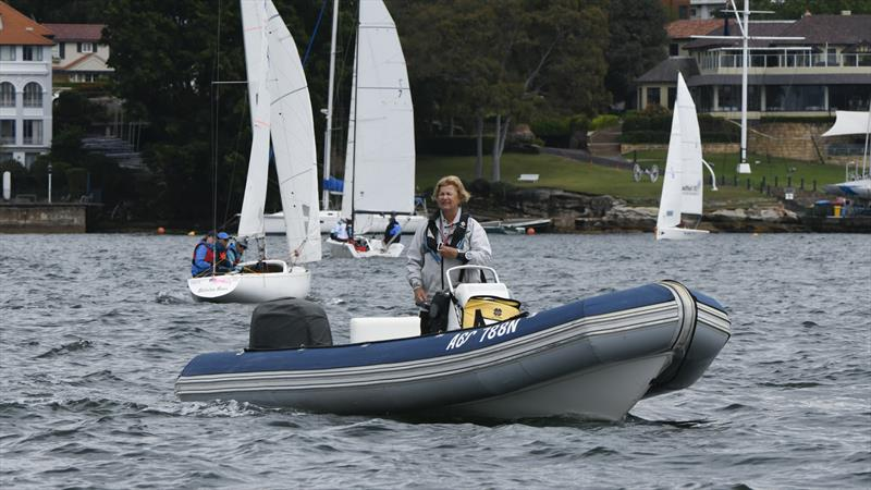 Karyn Gojnich out on the water coaching at the inaugural LOTS - Ladies of the Sea, with the clubhouse of the host, Royal Sydney Yacht Squadron in the background. - photo © Marg Fraser-Martin