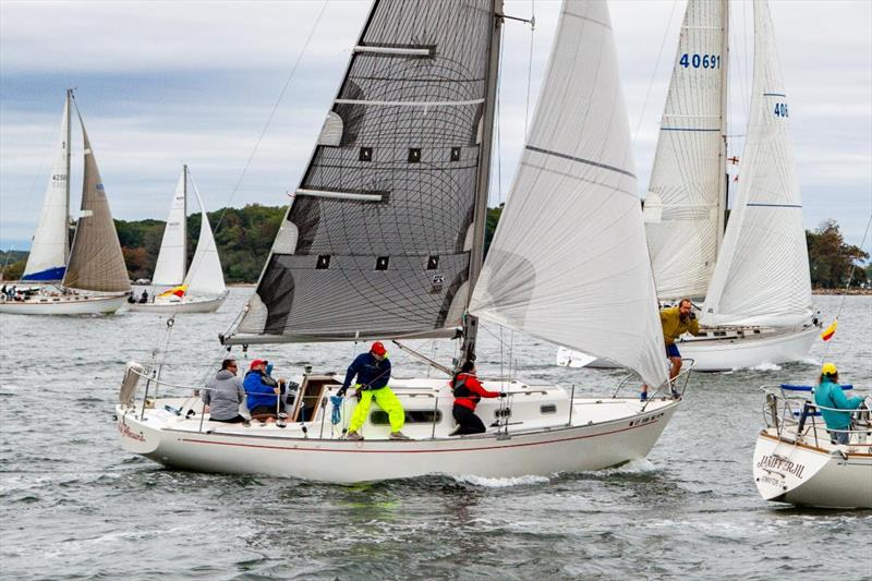 John Ekberg and crew on Foolish Pleasure cross the start line for Class 7 - The 64th Gearbuster - photo © Mary Alice Fisher