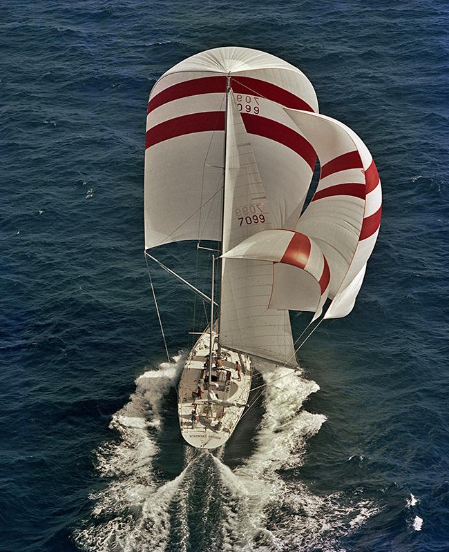 It took a long time to set all that stuff, and even longer to keep it all flying properly!!! Windward Passage - 1975- doing a hefty for the time 23 knots. - photo © Richard Bennett