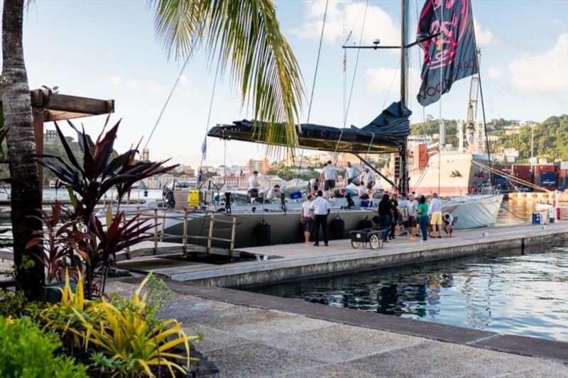 A fantastic welcome on the dock for Dark Shadow team at Camper & Nicholsons Port Louis Marina, Grenada - photo © RORC / Arthur Daniel