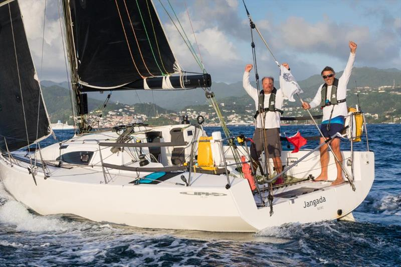 After 17 days and 10 hours, Jeremy Waiit (L) and Richard Palmer (R) cross the finish line outside Camper & Nicholsons Port Louis Marina, Grenada in the 2019 RORC Transatlantic Race - photo © RORC / Arthur Daniel