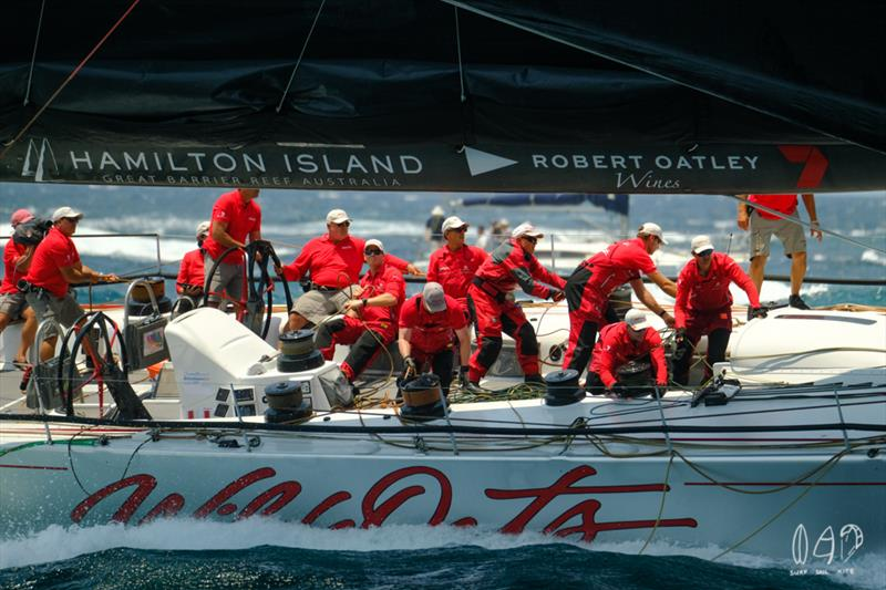 Crew at work Wild Oats XI - 2019 RSHYR photo copyright Mitch Pearson / Surf Sail Kite taken at Cruising Yacht Club of Australia and featuring the IRC class