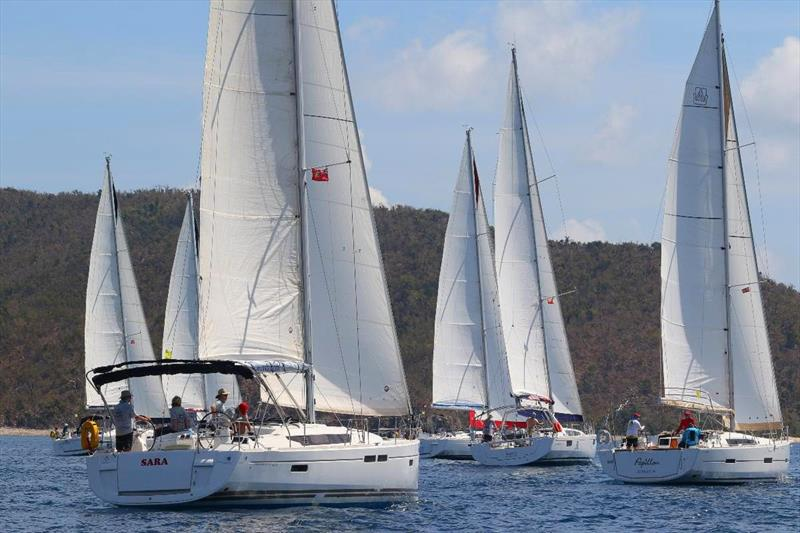 Sailing on courses between the islands, on the Caribbean Sea and Sir Francis Drake Channel keep the competitive bareboat fleet in the BVI Spring Regatta on their toes - Papillon far right - photo © Ingrid Abery