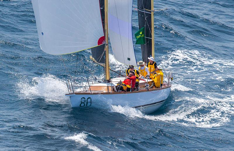 The tiny ketch, Katwinchar, heads south from Sydney soon after the start of the Rolex Sydney Hobart race in December. It may well make an appearance at Hamilton Island Race Week. - photo © Crosbie Lorimer - Bow Caddy Media