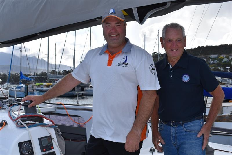 FilePro co-owner Tim Gadbsy with BYC Commodore Graham Mansfield have a chat about the Banjo's Shoreline Crown Series Bellerive Regatta - photo © Jane Austin
