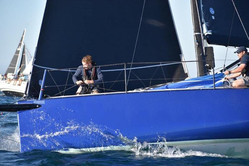Dan on the bow of Weapon of Choice - 72nd Bunbury and Return Ocean Race - photo © RFBYC Media
