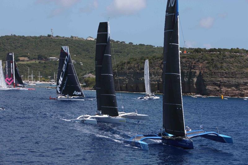Eight multihulls made an impressive sight for spectators in the final start - 2020 RORC Caribbean 600 - photo © Tim Wright / photoaction.com