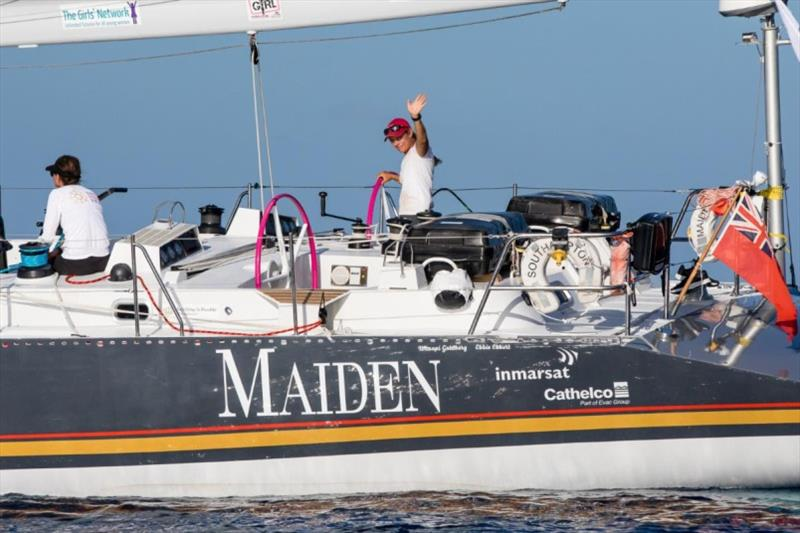Liz Wardley on Maiden at Barbuda on the first day of the RORC Caribbean 600 © Arthur Daniel / RORC