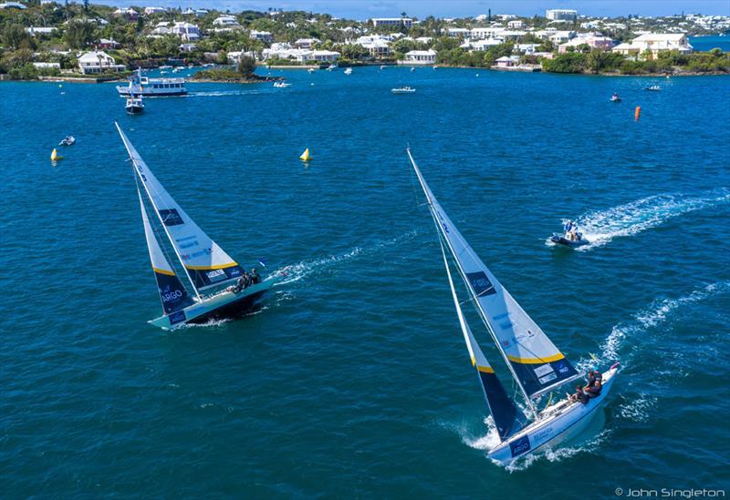 International One-Design sloops race upwind on Hamilton Harbour during the 2019 Bermuda Gold Cup - photo © John Singleton