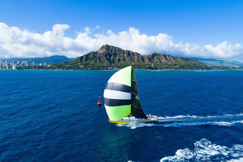 Taxi Dancer making an iconic finish at Diamond Head in 2019 © Sharon Green/Ultimate Sailing