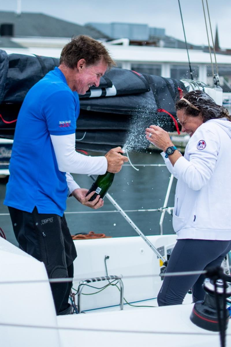 Ken Read and Suzy Leech celebrate with Prosecco provided by sponsor Zardetto. - 2020 Ida Lewis Distance Race photo copyright North Sails / Ellinor Walters taken at Ida Lewis Yacht Club and featuring the IRC class