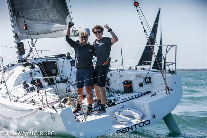 Celebrating their overall win in the IRC Two-Handed Championship - Dee Caffari and James Harayda on their Sun Fast 3300 Gentoo - RORC IRC National Championships 2020 - photo © Paul Wyeth / pwpictures.com