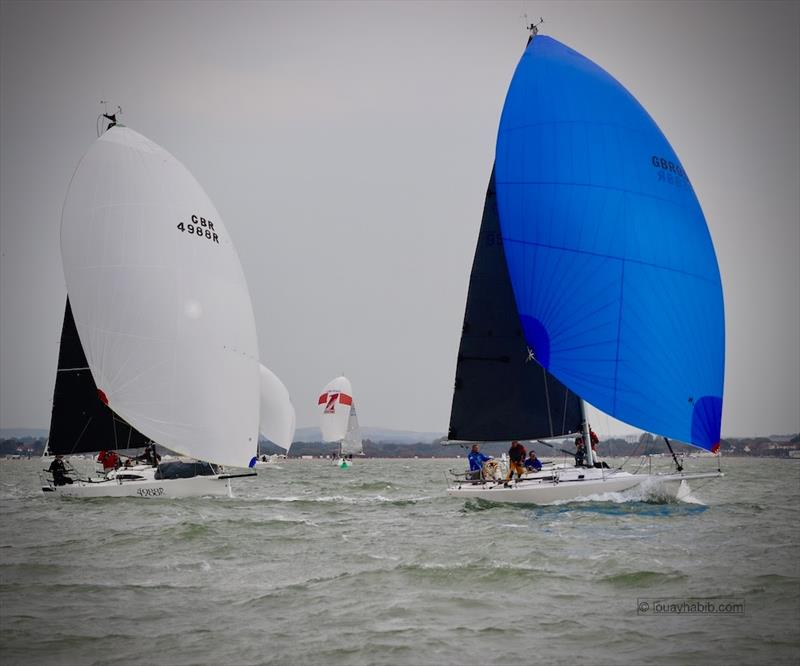 Gordon Craigen's J/105 Jacana leads on the water from Dirk & Dianne van Beek's J/88 Sabriel Jr - photo © Louay Habib / RSrnYC