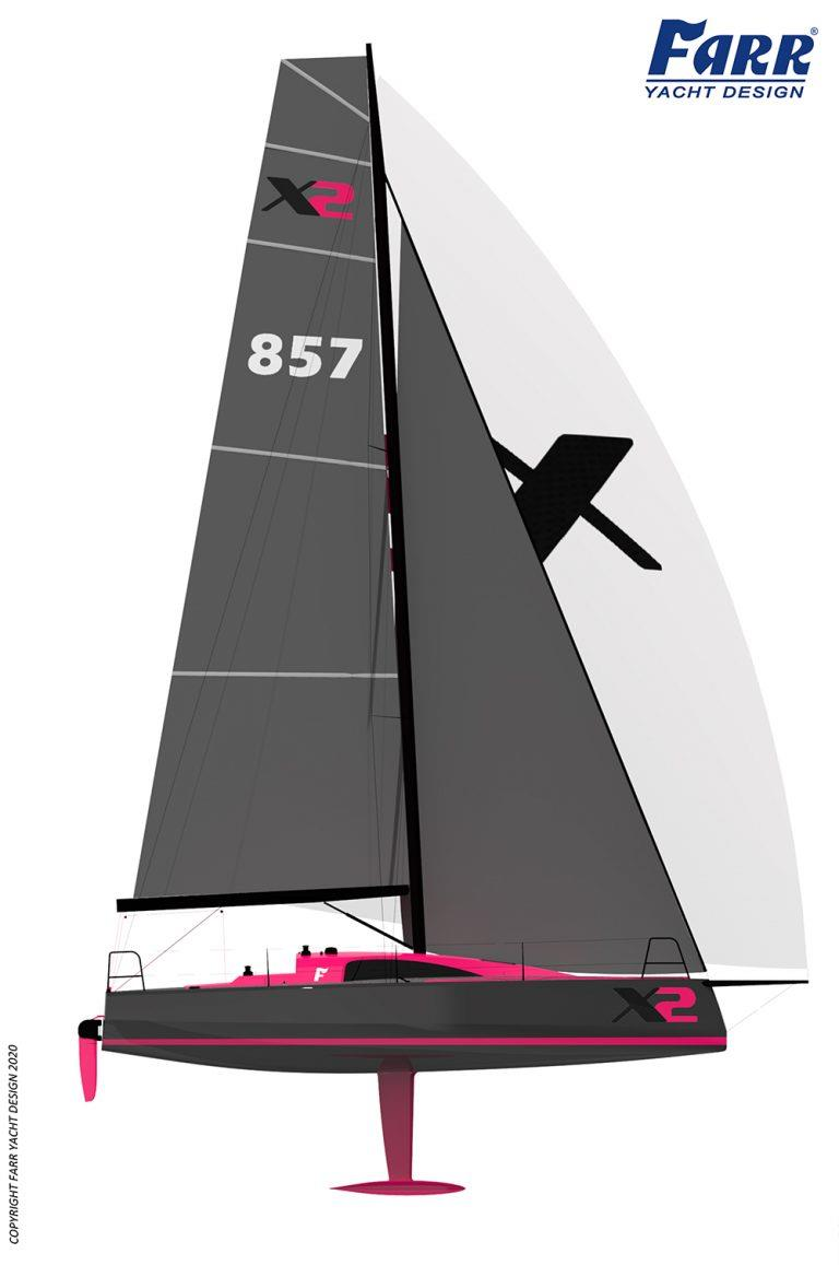 Stepped well aft, triple head racing, here we come - Farr X2 - photo © Farr Yacht Design