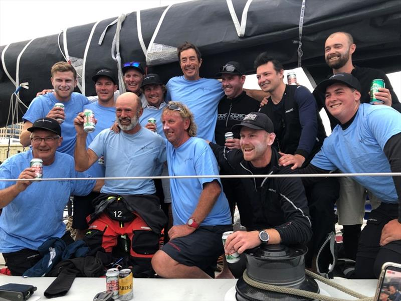 The crew of Alive celebrating their win and new race record in the TasPorts Launceston to Hobart Yacht Race. - photo © Jane Austin