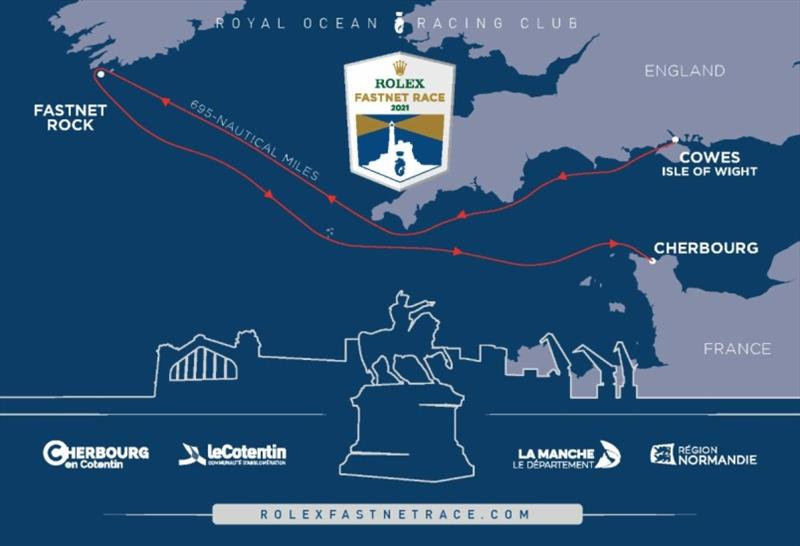 The route of the 2021 Rolex Fastnet Race from Cowes to Cherbourg-en-Cotentin via the Fastnet Rock - 695nm - photo © RORC