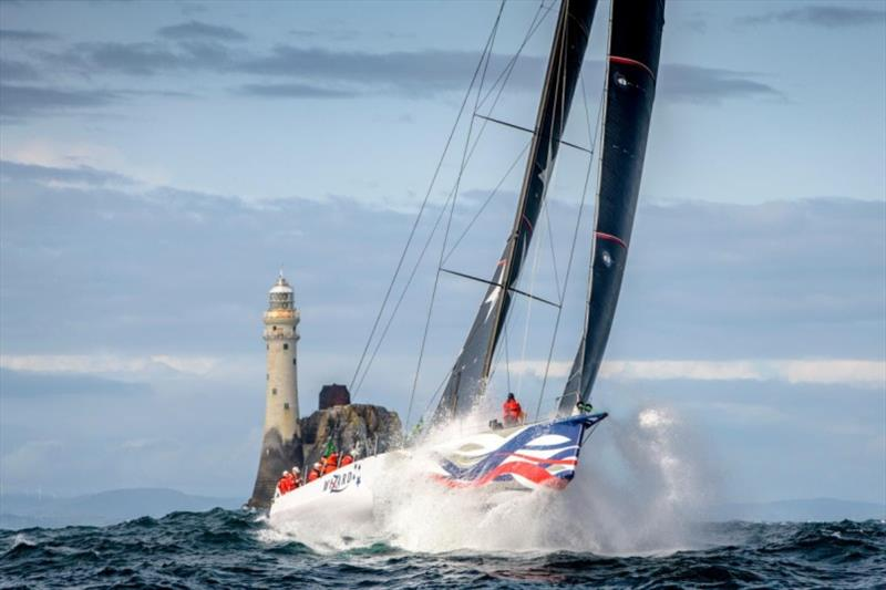 Wizard - 2019 Rolex Fastnet Race winner launches off a wave shortly after passing he Fastnet Rock and heading to the finish. - photo © Kurt Arrigo / Rolex