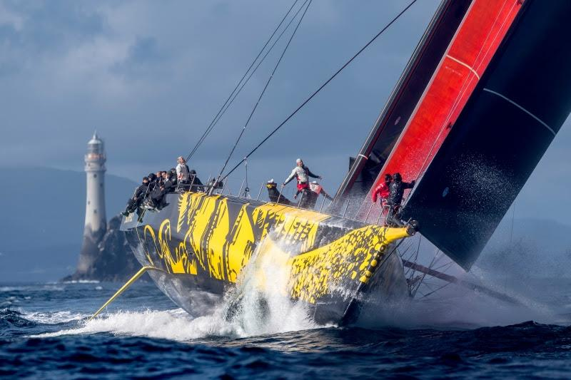 Skorpios was the first monohull to round the Fastnet Rock, passing the iconic turning point at 1820 BST on the second day - photo © Rolex / Kurt Arrigo