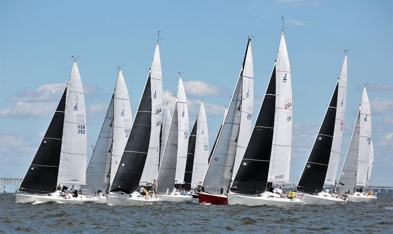 J/105 fleet - 2020 Helly Hansen NOOD Regatta Annapolis photo copyright Will Keyworth taken at Annapolis Yacht Club and featuring the J105 class