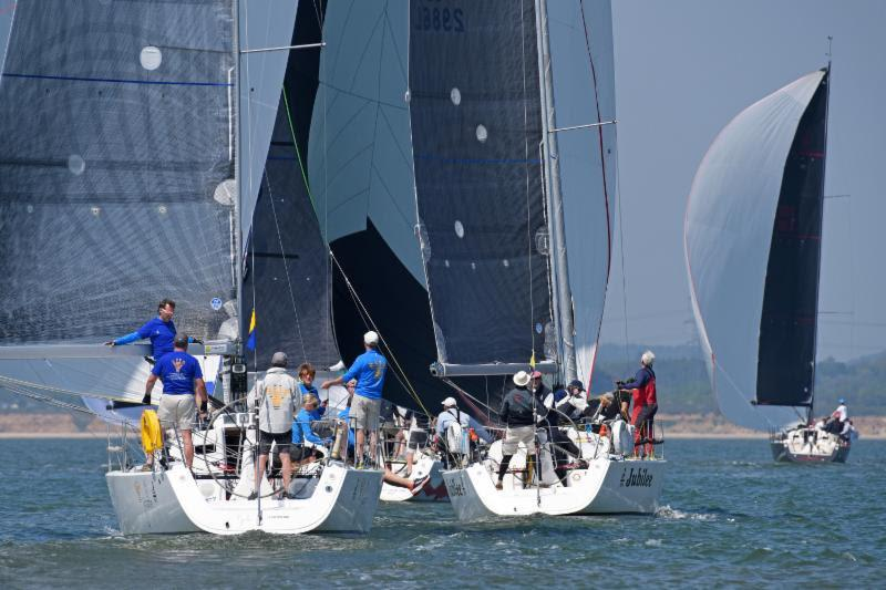 Close racing for the two J/109s Jiraffe and Jubilee - 2018 Vice Admiral's Cup - photo © Rick Tomlinson