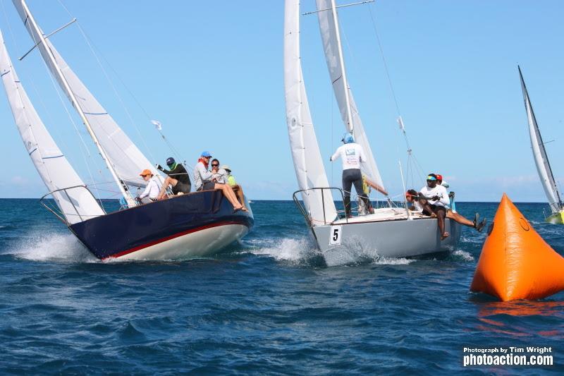 Hot racing in the J/24 Class - 2020 Grenada Sailing Week - photo © Tim Wright